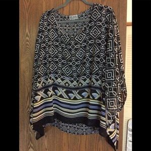 JM Collection Poncho style Top Size 2X
